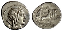 Ancient Coins - Roman Republic, L. Julius Bursio. AR denarius. Rome mint. 85 BC. Apollo / Victory driving galloping quadriga