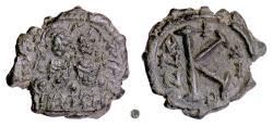 Ancient Coins - BYZANTINE, Justin II, with Sophia. AE half folllis, Nikomedia mint, 575/6 AD