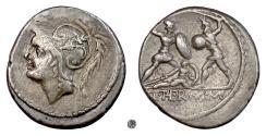 Ancient Coins - Roman Republic, Q. Minucius Thermus M.f.   AR Denarius, 103 BC.  Mars / Fighting warriors