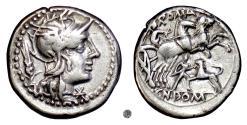 Ancient Coins - Roman Republic, Cn. Domitius Ahenobarbus.  AR Denarius, Rome mint, 128 BC.  Roma / Victory Driving Biga