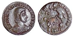 Ancient Coins - CONSTANTIUS GALLUS. AE 18, [Sirmium mint, (or imitative) circa 351-354 AD?]. Soldier spearing enemy