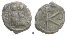 Ancient Coins - BYZANTINE,  Justin II, with Sophia. AE half follis, Thessalonica mint, 568/9 AD