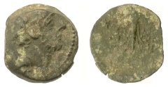 Ancient Coins - SELEUKID KINGS, Antiochos IX. AE denom B; Antioch, 114/3 BC. Winged thunderbolt