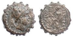 Ancient Coins - SELEUKID, Antiochos IV. AE serrate, Ptolemaïs mint, 175-164 BCE. Apollo. Scarce