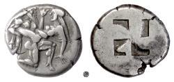 Ancient Coins - Islands off Thrace, THASOS.  AR Stater, circa 480-463 BC.  Satyr and Nymph