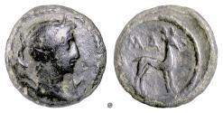 Ancient Coins - LYCIAN LEAGUE, Masikytes mint.  AE unit, circa 27-23 BC. Artemisa / Stag.  Lindgren plate coin
