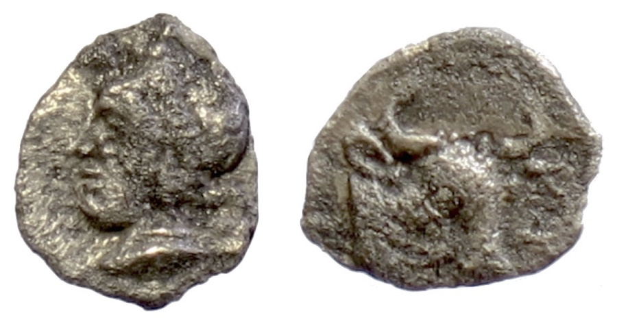 Ancient Coins - MYSIA, Cyzicus. AR hemiobol, circa 410-400 BC. Head of Attis / Bull's head