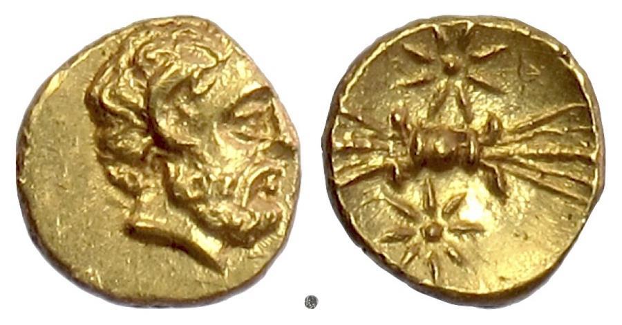 Ancient Coins - Kyrenaika, Kyrene, Magas as governor.  AV obol, struck circa 308-305 BC. Zeus / Thunderbolt