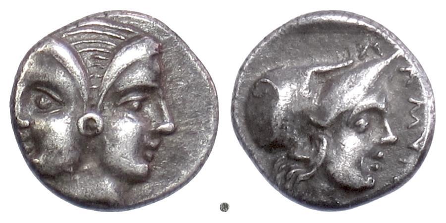Ancient Coins - Mysia, LAMPSAKOS. AR Diobol, 4th-3rd century BC. Janiform head / Athena