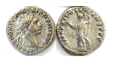 Ancient Coins - DOMITIAN. AR denarius. Rome mint. Struck 90-91 AD