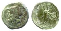 Ancient Coins - BRUTTIUM, The Brettii. AE Double unit (didrachm), circa 211-208 BC. Ares / Hera