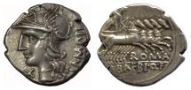 Ancient Coins - Roman Republic, M. Baebius Q.f. Tampilus. AR denarius. Rome mint, 137 BC. Roma / Apollo driving quadriga