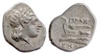 Ancient Coins - BITHYNIA, Kios. AR Half Siglos, Proxenos, magistrate, circa 350-300 BC. Apollo / Prow