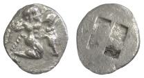 Ancient Coins - THRACE, Thasos. AR diobol, circa 500-480 BC. Satyr