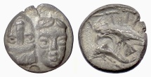 MOESIA, Istros. AR Quarter Drachm , 4th century BC. Facing heads / Eagle on dolphin