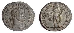 Ancient Coins - Galerius, as Caesar. AE follis, Ticinum mint. Struck circa AD 296-297. Genius