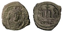 Ancient Coins - BYZANTINE, Tiberius II. AE follis, Constantinople mint, dated RY 8 (581/2)