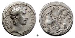 Ancient Coins - AUGUSTUS, Antioch.  AR Tetradrachm, 2 BC.  Tyche with river god