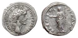 Ancient Coins - ANTONINUS PIUS. AR denarius, Rome, struck circa AD 141-143. Clementia