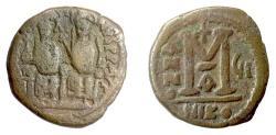 Ancient Coins - BYZANTINE, Justin II, AE follis, Nicomedia mint, year 7 (571/2 AD). Justin & Sophia