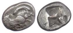 Ancient Coins - IONIA, Klazomenai. AR Diobol, circa 480-400 BC. Winged Boar / incuse