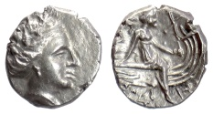 Ancient Coins - EUBOIA, Histiaia. AR Tetrobol, 3rd-2nd centuries BC. Nymph seated on galley