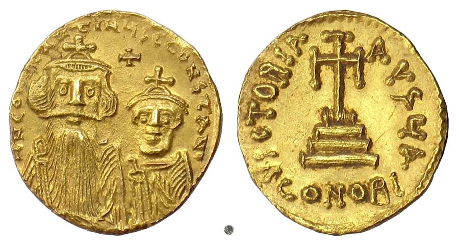 Ancient Coins - BYZANTINE, Constans II, with Constantine IV. AV Solidus. Constantinople, 654-659 AD