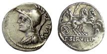 Ancient Coins - Roman Republic, P. Servilius M.f. Rullus. AR denarius. Rome mint, 100 BC. Minerva / Victory in biga