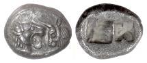 Ancient Coins - KINGS of LYDIA, Cyrus – Darios I. AR Siglos, Sardes mint, circa 550-520 BC. Lion / Bull