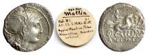 Ancient Coins - Roman Republic, Appius Claudius Pulcher, T. Manlius Mancius, and Q. Urbinius AR denarius. Rome mint, 111-110 BC. Roma / Victory driving triga