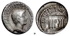 Ancient Coins - OCTAVIAN. AR Denarius, uncertain Italian mint, 29-28 BC.  Julius Caesar in temple