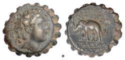 Ancient Coins - SELEUKID, Antiochos VI Dionysos. AE serrate denom B, Antioch on the Orontes mint, 144-142 BC