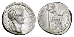 """Ancient Coins - TIBERIUS. AR Denarius, Lugdunum mint. """"Tribute Penny"""" type, 14-37 AD"""
