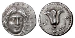 Ancient Coins - CARIA, Rhodes. AR Tetradrachm. Ameinias, magistrate, circa 229-205 BC. Helios / Rose