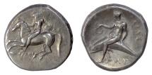 CALABRIA, Tarentum. AR Nomos, circa 280 BC. Youth on horseback / Phalanthos on dolphin