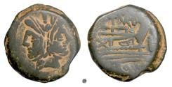 Ancient Coins - Roman Republic, C. Papirius Turdus. AE as, Rome mint, 169-158 BC. Janus head / Prow