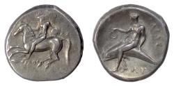 Ancient Coins - CALABRIA, Tarentum. AR Nomos, circa 280 BC. Youth on horseback / Phalanthos on dolphin