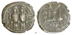 Ancient Coins - BYZANTINE, Justin II, with Sophia. AE follis. Nicomedia mint, 570/71 AD