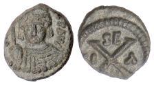Ancient Coins - BYZANTINE, Maurice Tiberius. AE decanummium, Syracuse mint, 582-602 AD