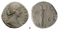 Ancient Coins - FAUSTINA Jr.  AE sestertius, Rome mint, 161-164 AD.  Juno with peacock