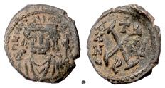 Ancient Coins - BYZANTINE, Maurice Tiberius. AE 10 Nummi (Decanummium), Theoupolis (Antioch) mint. Dated RY 2 (583/4)