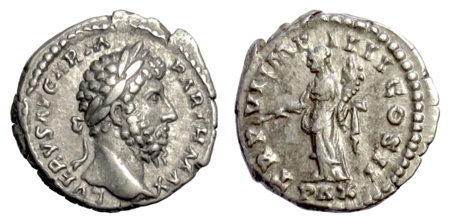 Ancient Coins - Lucius Verus. AR denarius. Rome mint, struck  AD 166