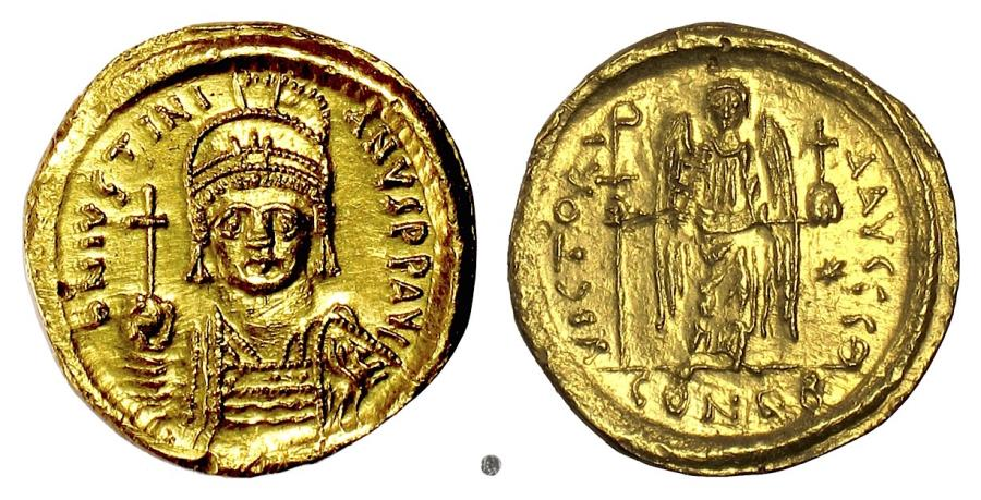 Ancient Coins - BYZANTINE, Justinian I. AV Solidus. Constantinople mint, 545-565 AD. Angel