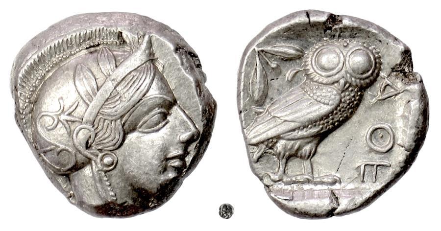 Ancient Coins - Athens. AR Tetradrachm, circa 454 - 404 BC. Athena / Owl