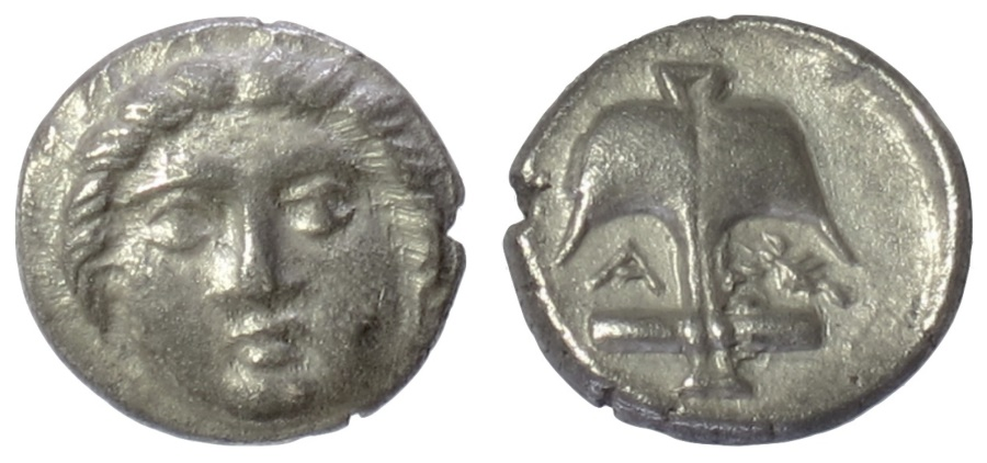 Ancient Coins - THRACE, Apollonia Pontika. AR Diobol, late 5th-4th centuries BC. Apollo / Anchor