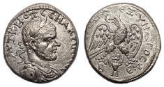 Ancient Coins - MACRINUS AR Tetradrachm. EF. Beroea mint. Bird - BE. Bust seen from front.