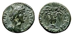 Ancient Coins - Pseudo-autonomous AE17. EF-/VF+. Apollonia (Lydia). AD 161-169. Tyche - Krater.