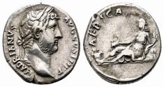 Ancient Coins - HADRIAN AR Denarius. VF+. AFRICA. The Hadrian´s travels.