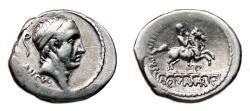 Ancient Coins - L. Marcius Philippus AR Denarius. EF-/EF. Ancus Marcius - Horseman over acueduct.