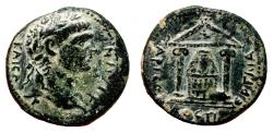 Ancient Coins - PERGE (Pamphylia) AE24. Trajan. EF-/EF. Artemis Pergaia within temple.
